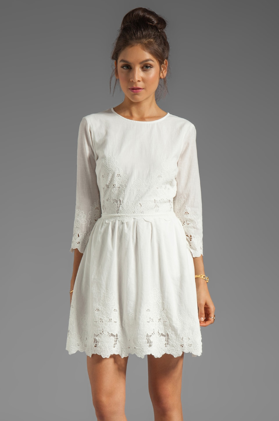 Dolce Vita Val Sunflower Lace Dress in Frost