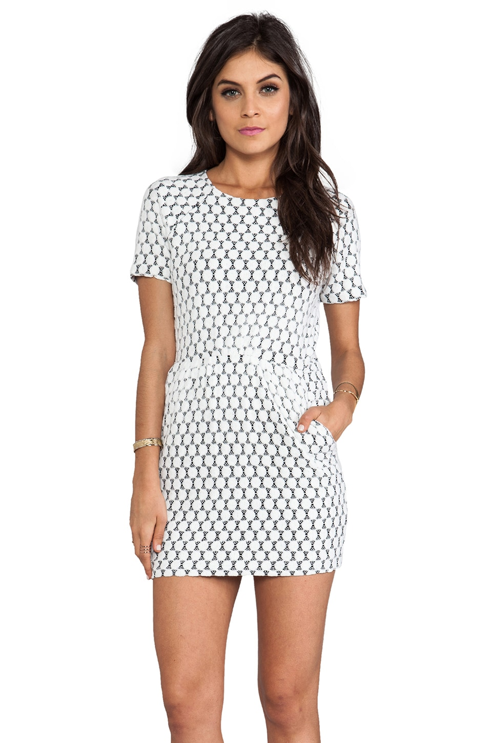 Dolce Vita Ritsa Dot Zebra Lace Dress in White Dot