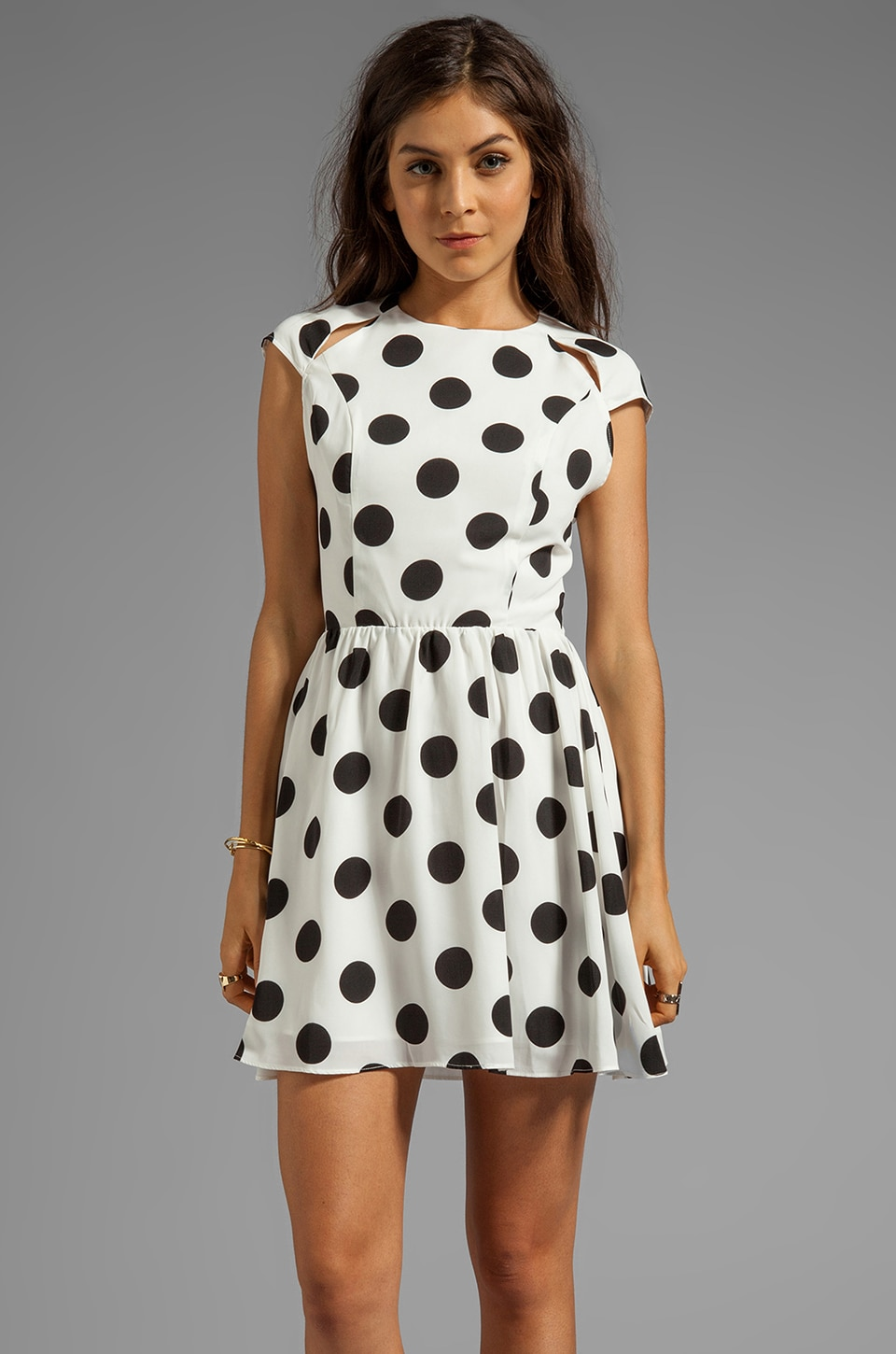 Dolce Vita Alishia Rayon Dot Dress in White/Black