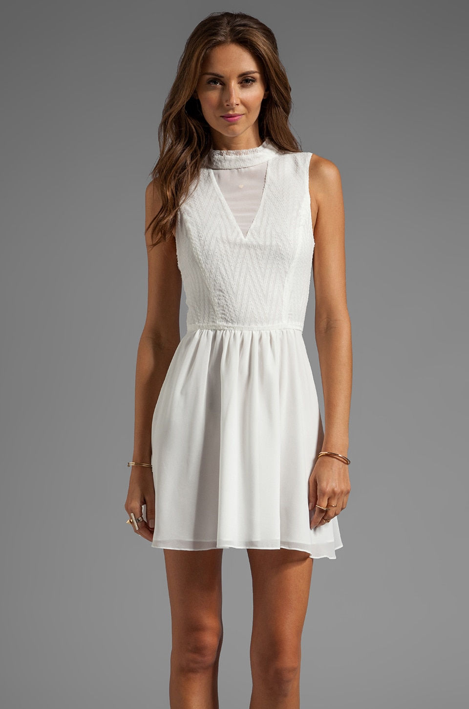 Dolce Vita Romana Zigzag Dobby Dress in White