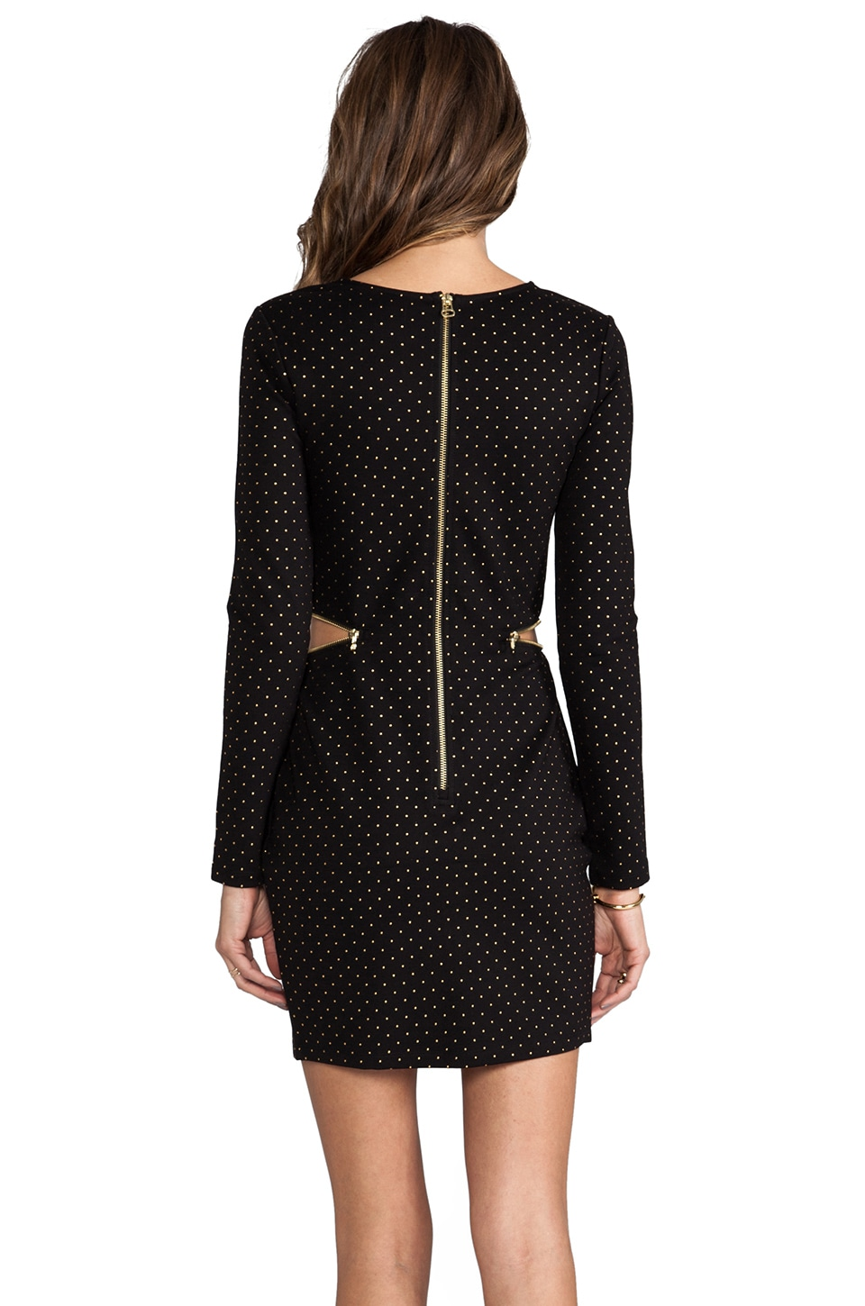 Dolce Vita Bing Gold Dots Dress in Black