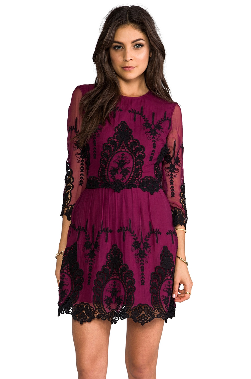 Dolce Vita Valentina Dress in Burgundy/Black