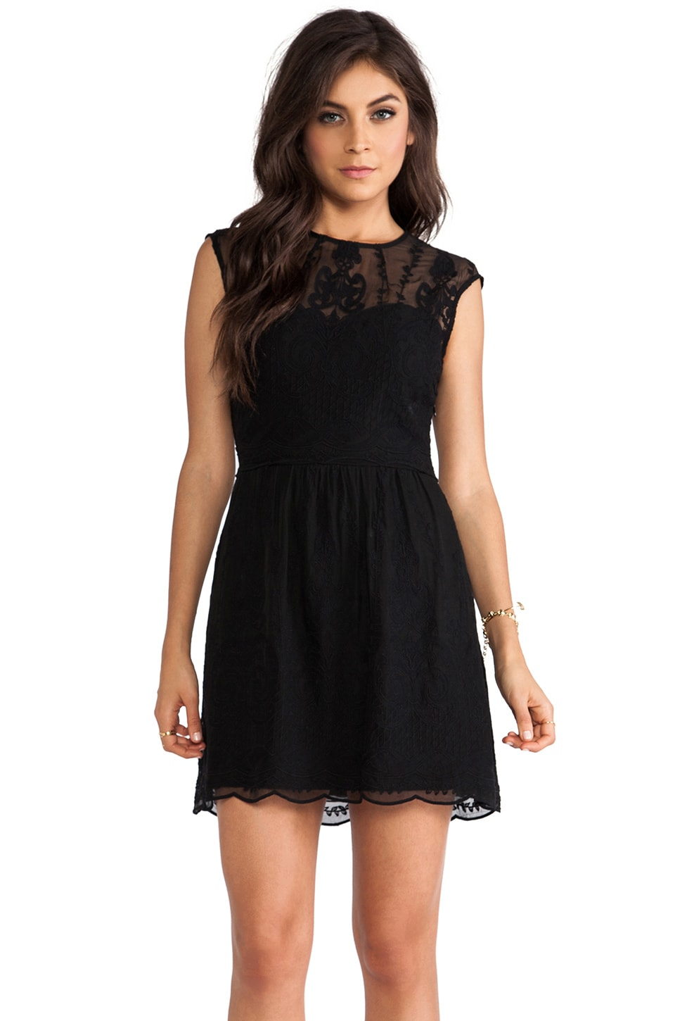 Dolce Vita Kloey Silk Embroidery Dress in Noir