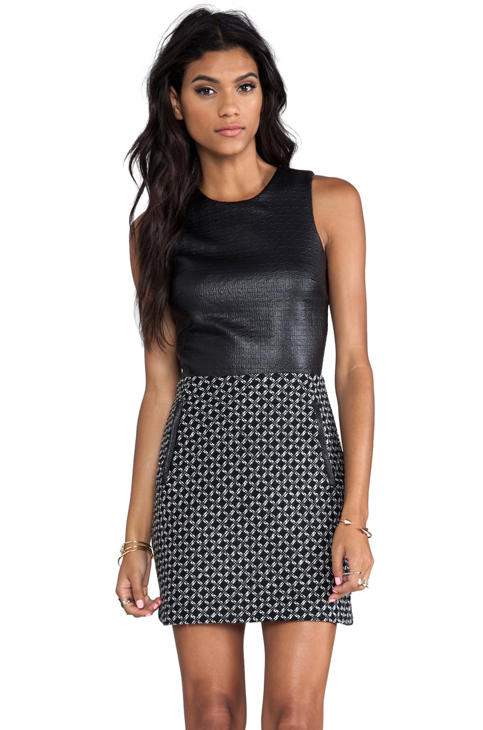 Dolce Vita Maciee Checker Tweed Dress in Black/White