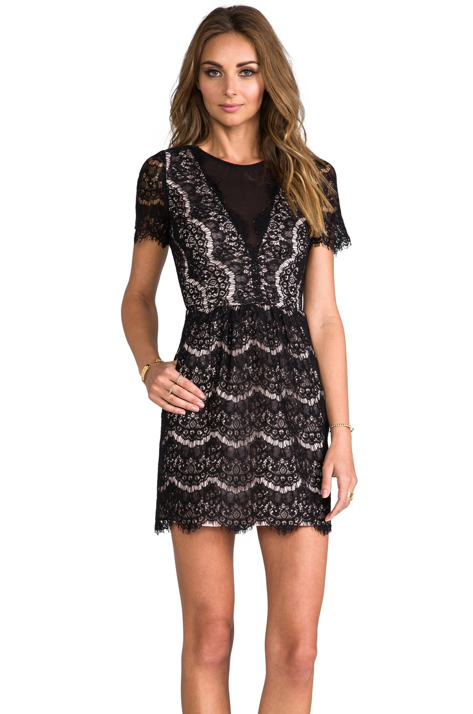Dolce Vita Saurus Eyelash Lace Dress in Black