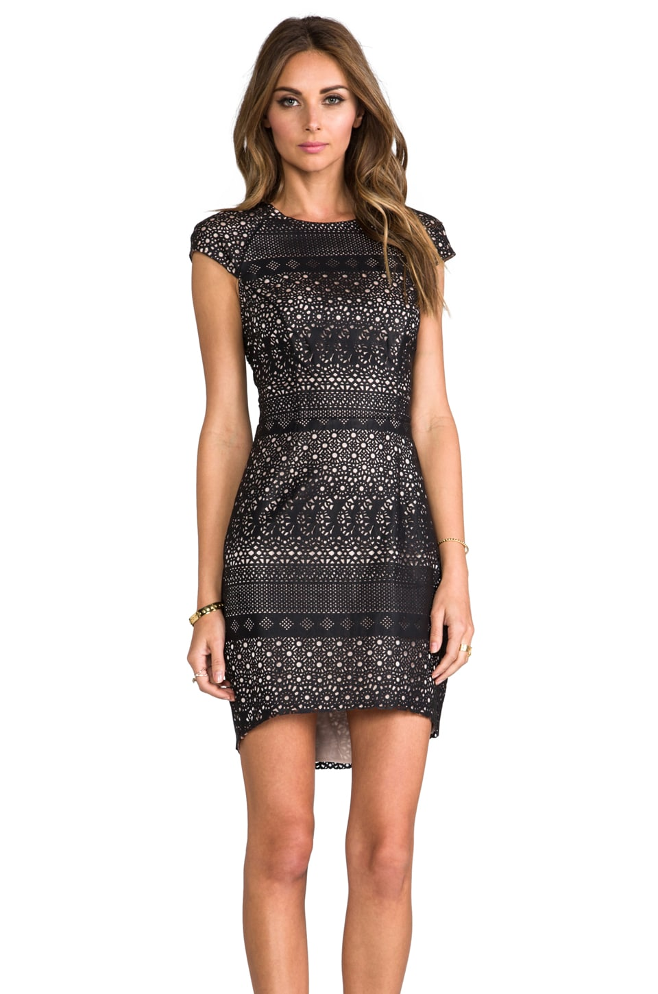 Dolce Vita Wallis Laser Cut Faux Leather Dress in Black