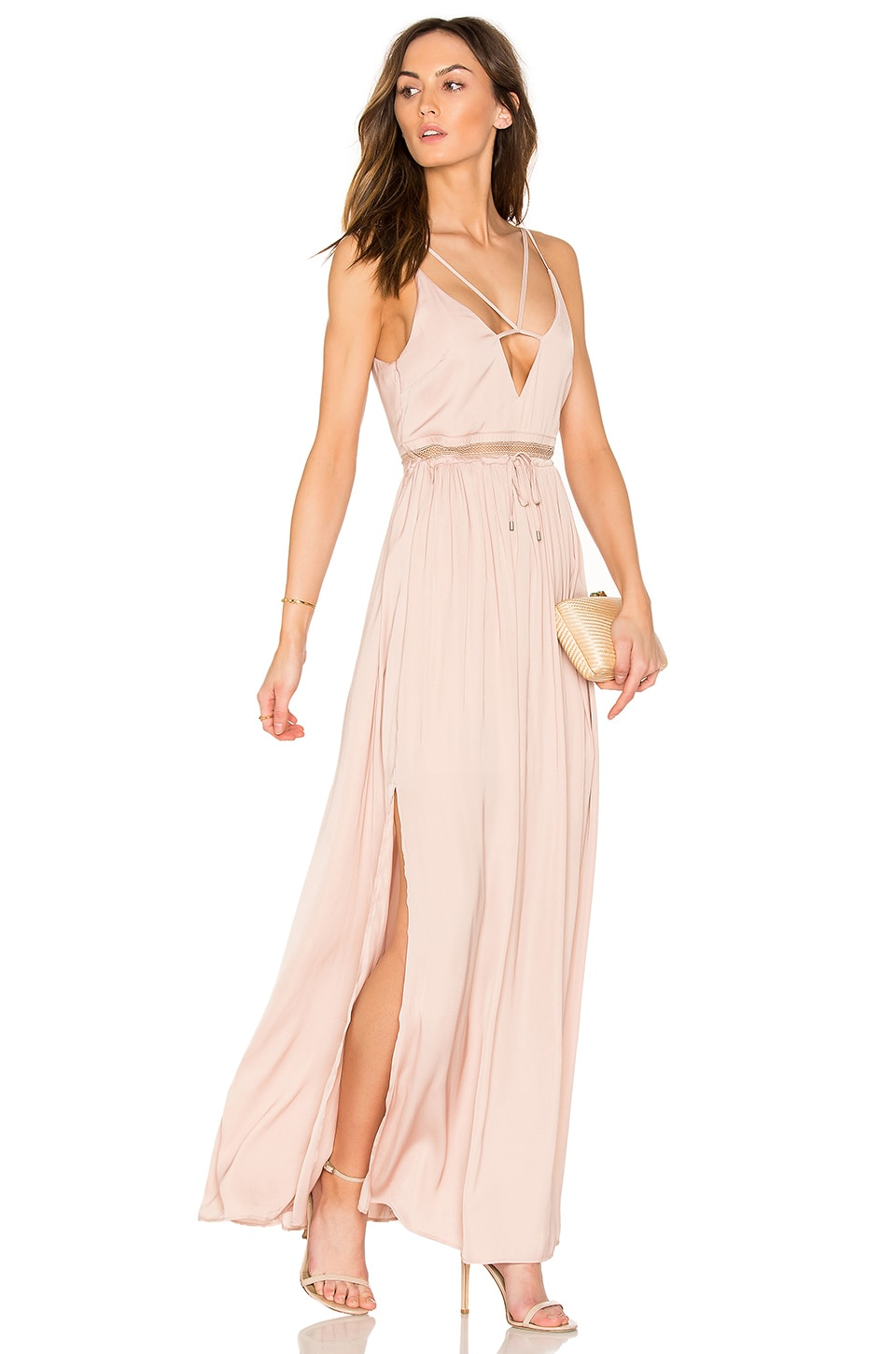 nbd x revolve in the deep maxi dress in caramel u0026 gold revolve