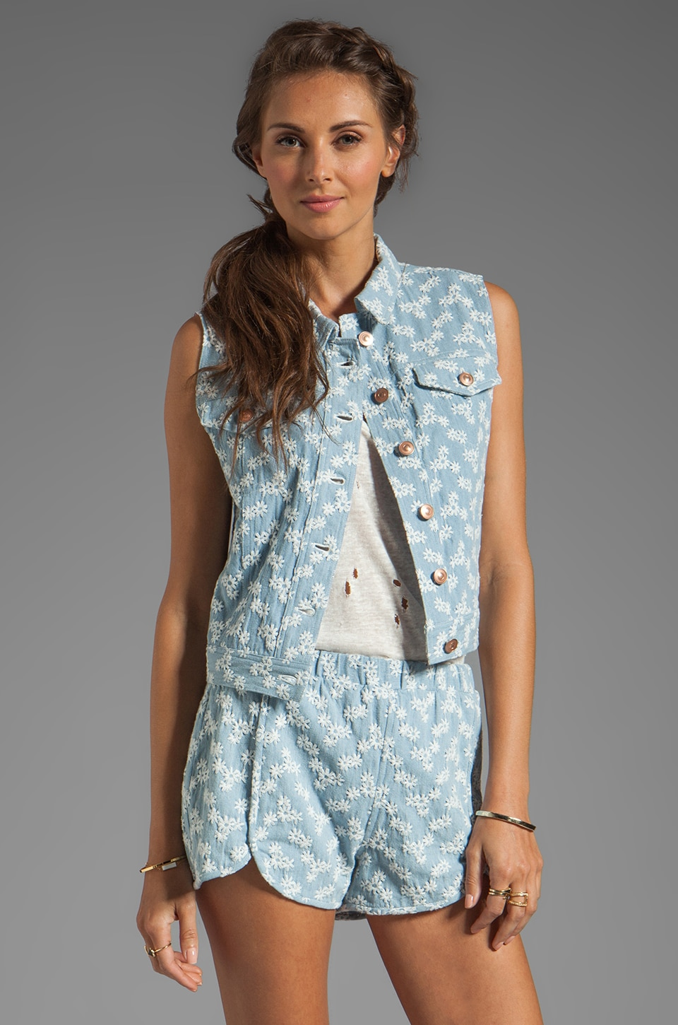 Dolce Vita Ricky Floral Denim Vest in Denim Blue