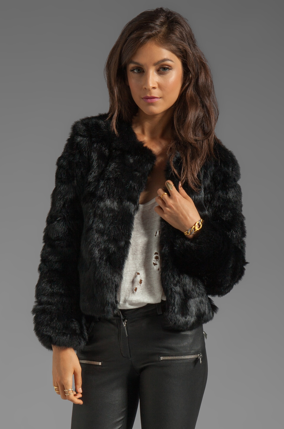 Dolce Vita Luxor Rabbit Fur Jacket in black