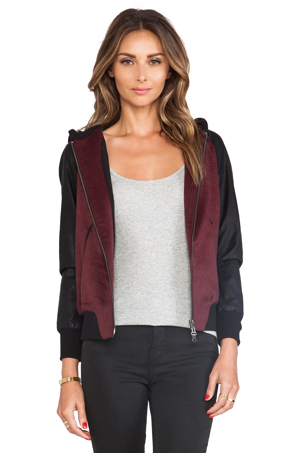 Dolce Vita Toniece Faux Leather Jacket in Maroon