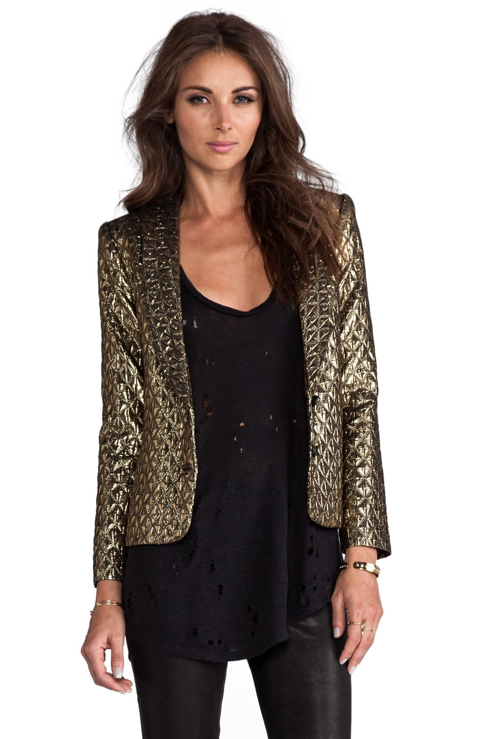 Dolce Vita Ashna Metallic Tiles Blazer in Gold