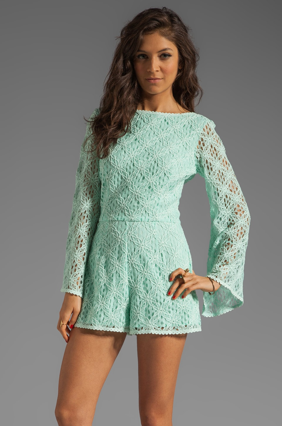 Dolce Vita Seni Crochet Lace Romper in Mint