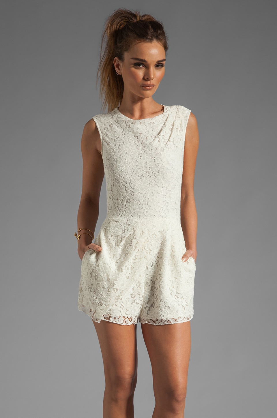 Dolce Vita Jaida Raised Lace Romper in Cream