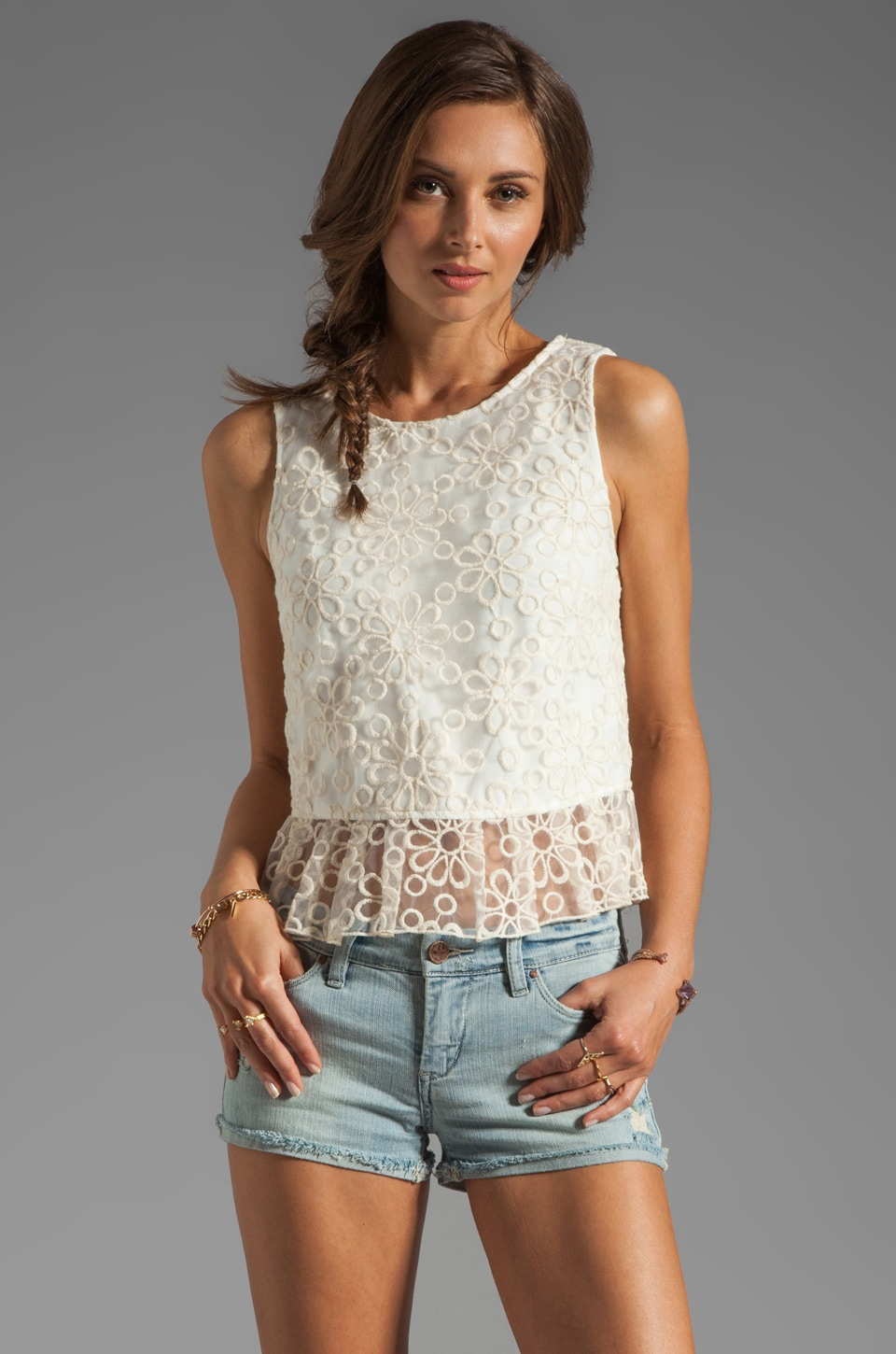 Dolce Vita Anja Daisy Organza Top in Natural