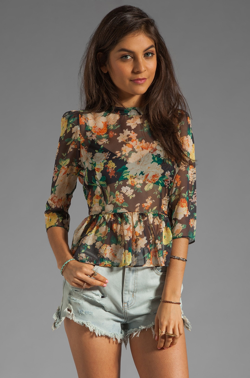 Dolce Vita Ceri Blouse in Black Floral