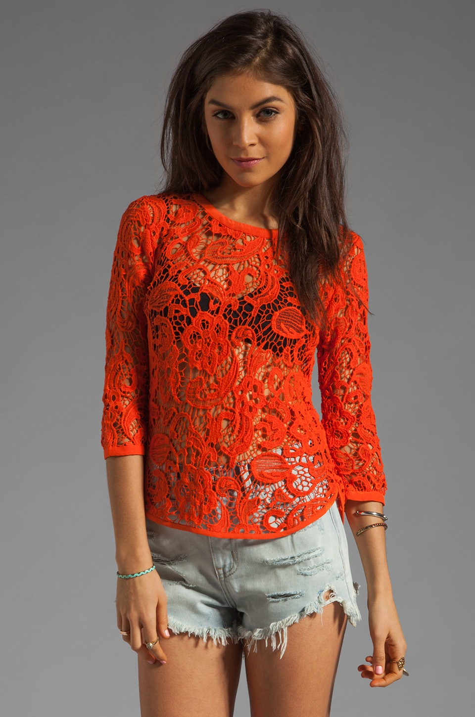 Dolce Vita Abelle Scroll Lace Blouse in Bright Orange