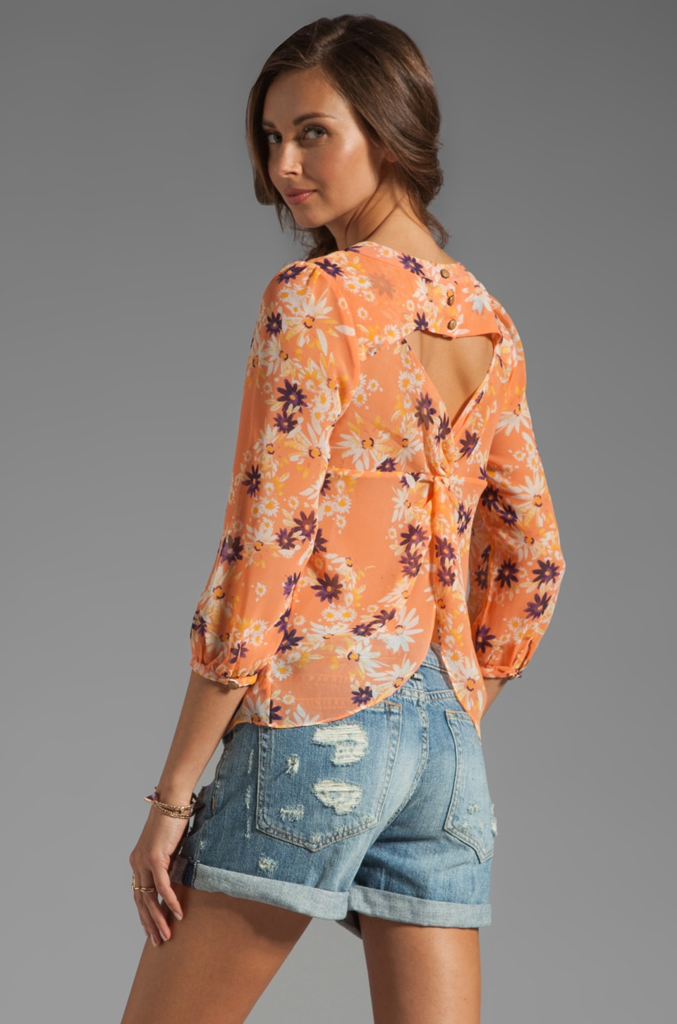 Dolce Vita Aema Lazy Daisy Blouse in Coral