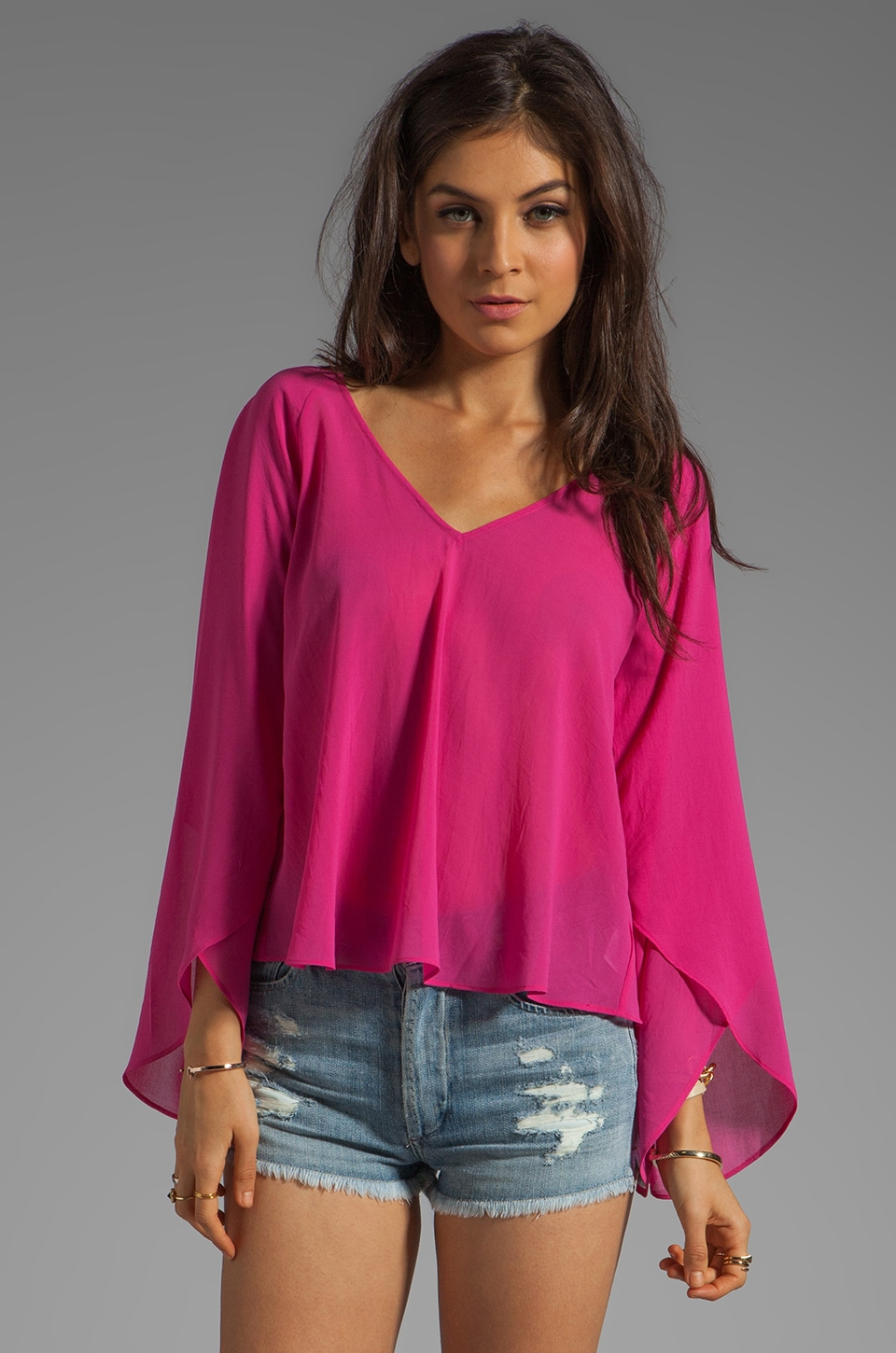 Dolce Vita Nalani Evil Eye Bell Sleeve Blouse in Bright Pink