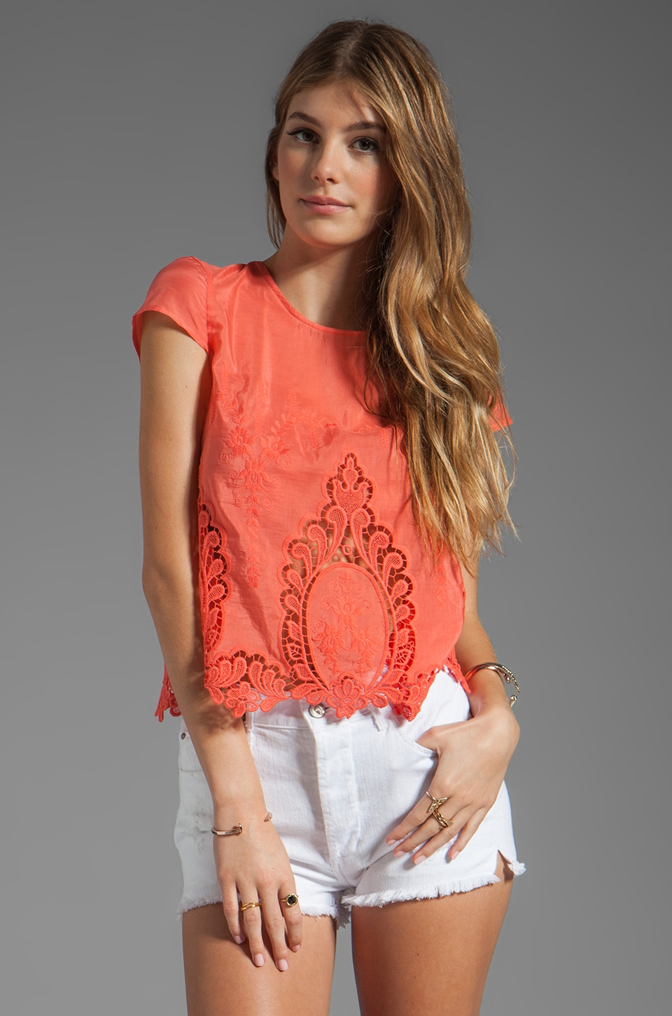 Dolce Vita Story Petticoat Embroider Blouse in Melon
