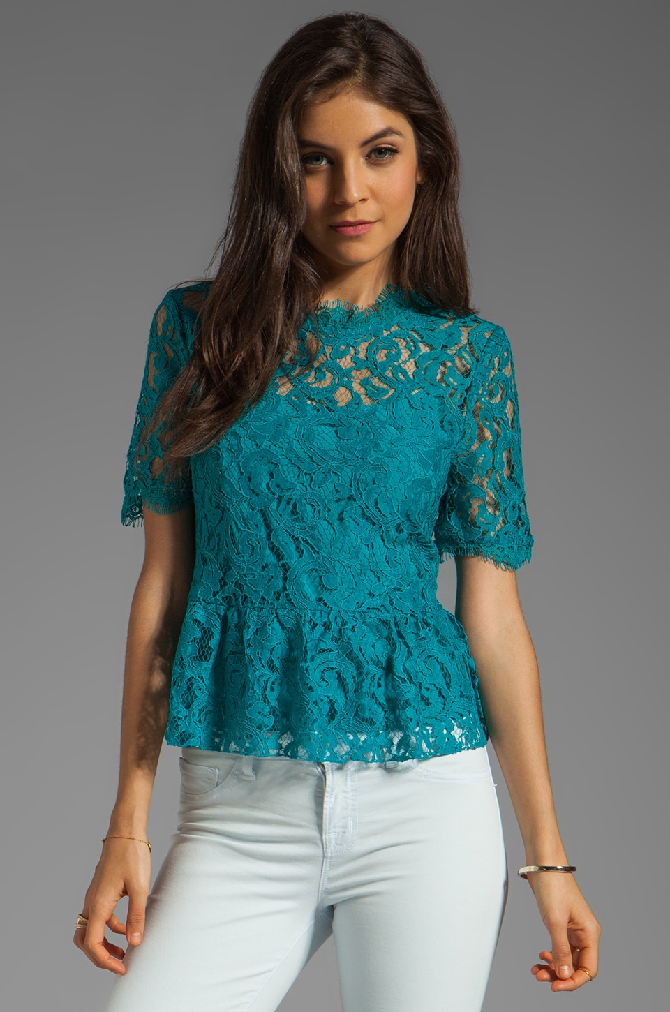 Dolce Vita Damica Peplum Lace Top in Teal