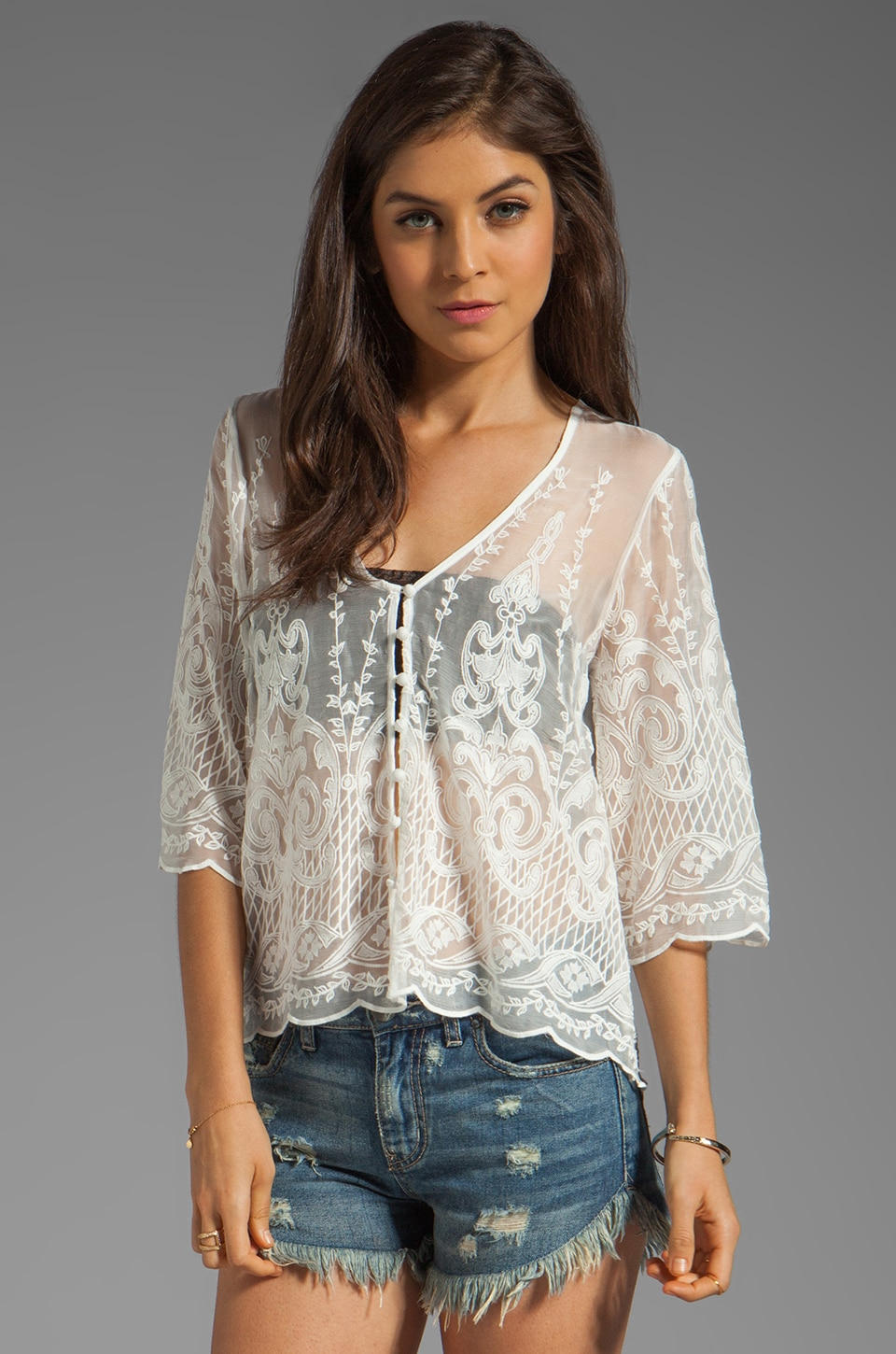 Dolce Vita Jinger Silk Embroidery Long Sleeve Button Down Blouse in Snow