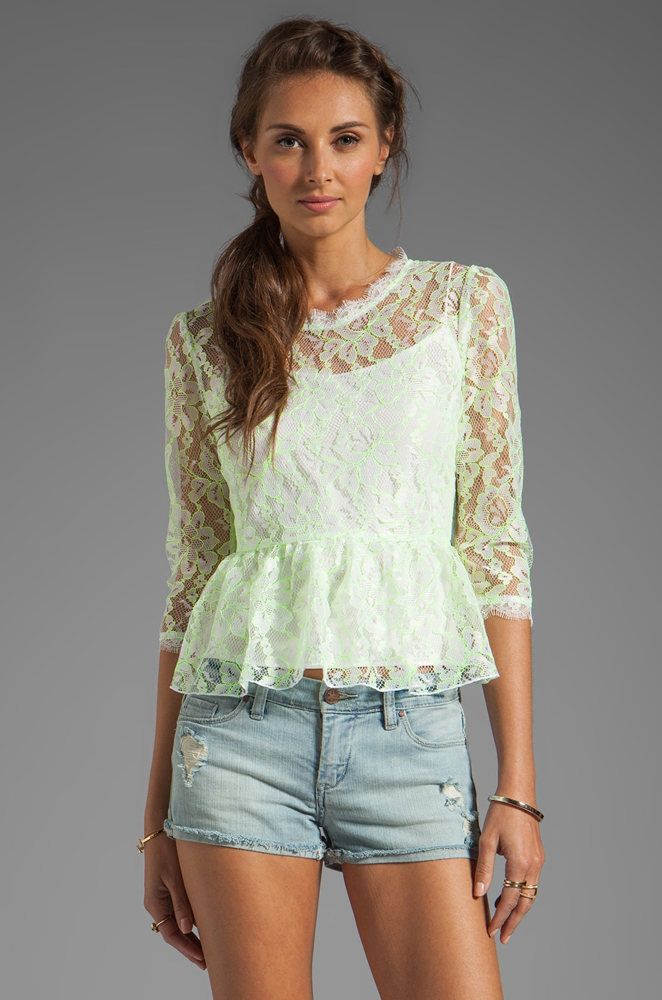Dolce Vita Ceri Lace Peplum Top in White/Yellow