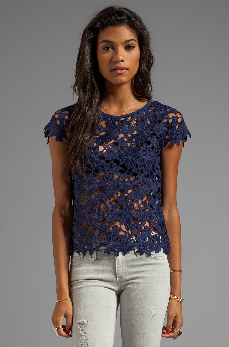 Dolce Vita Quinch Floral Heavy Lace Top in Navy