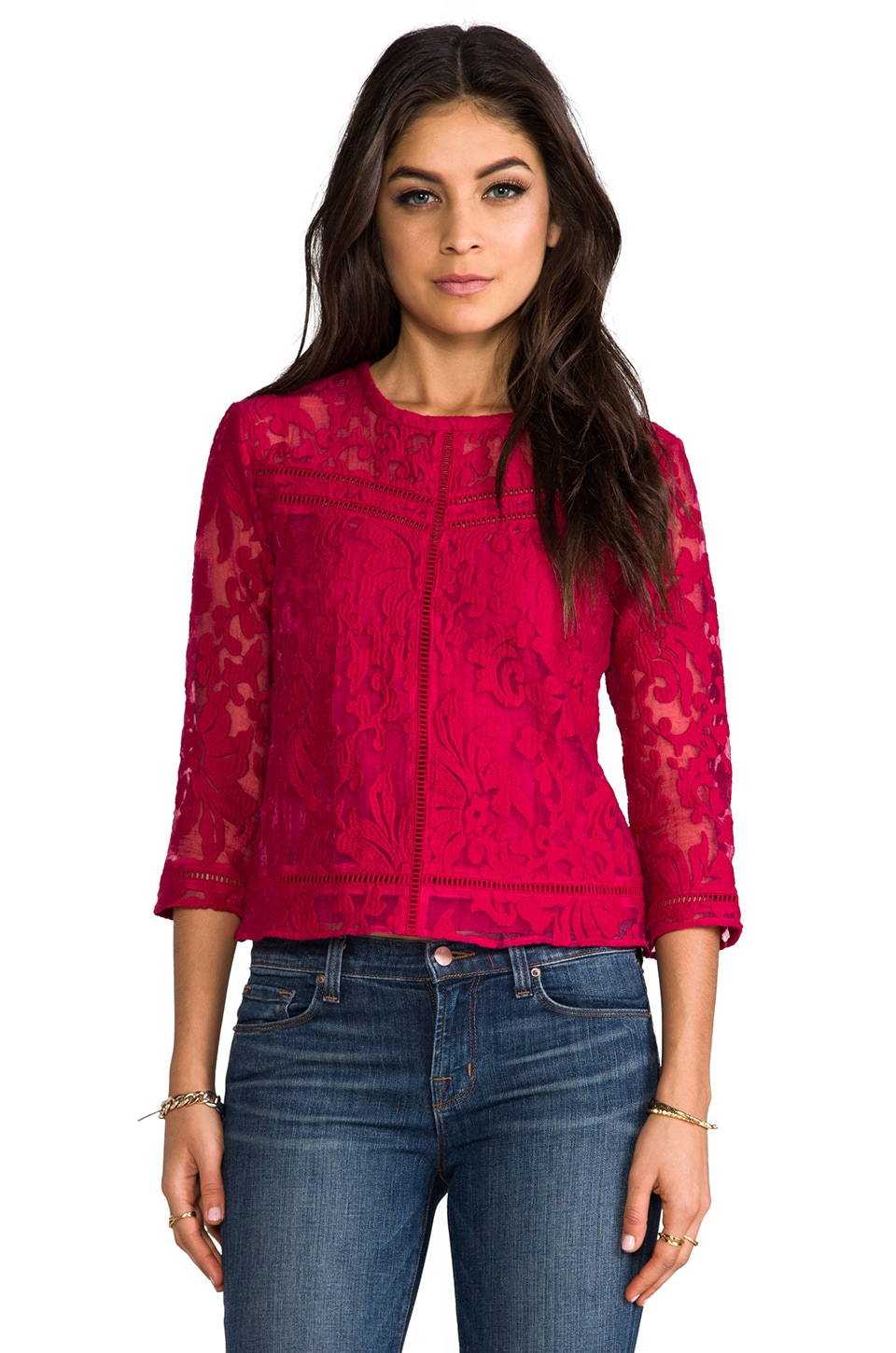 Dolce Vita Bambina Organza Lace Top in Berry
