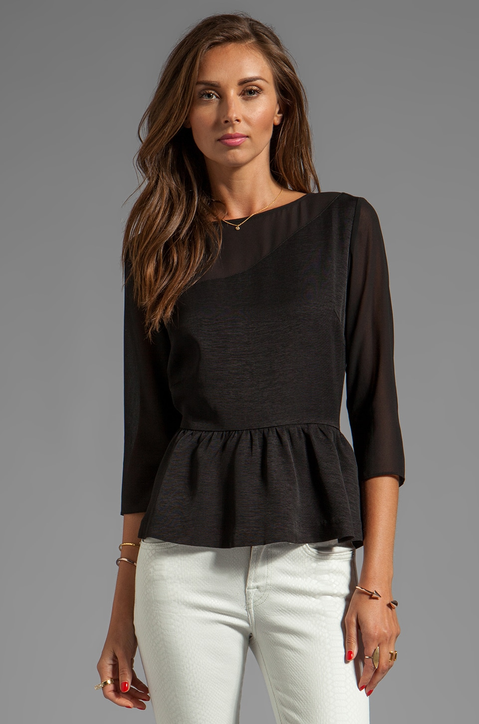 Dolce Vita Sisley Viscose Faille Top in Black