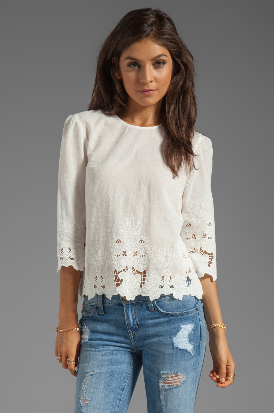 Dolce Vita Deidra Sunflower Lace Top in Frost
