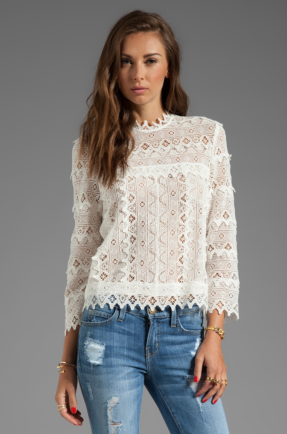 Dolce Vita Hagia Edgy Lace Top in White
