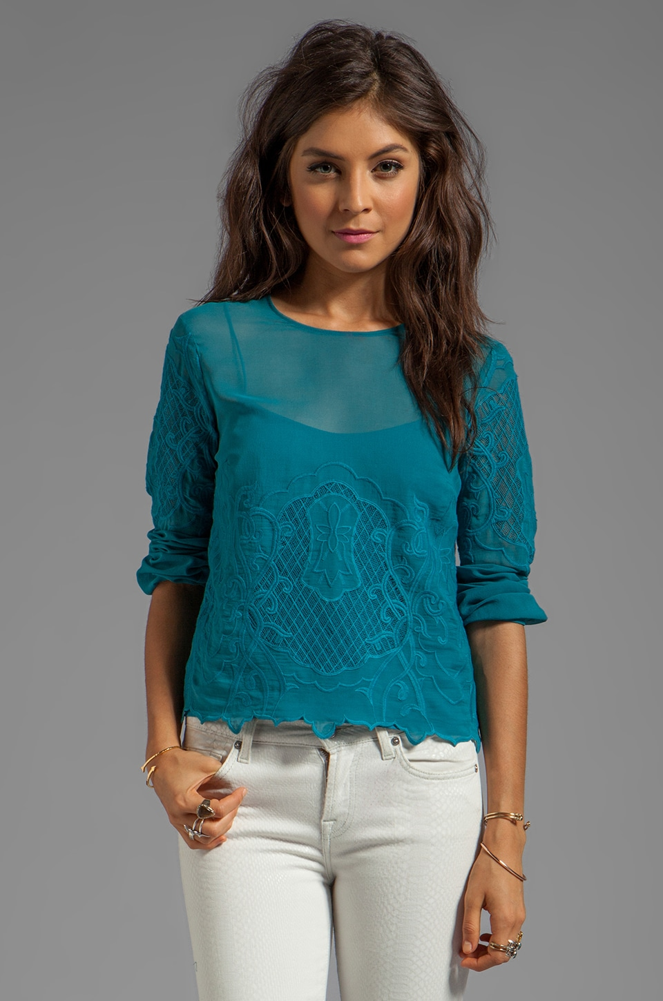Dolce Vita Odelina New Baroque Top in Teal