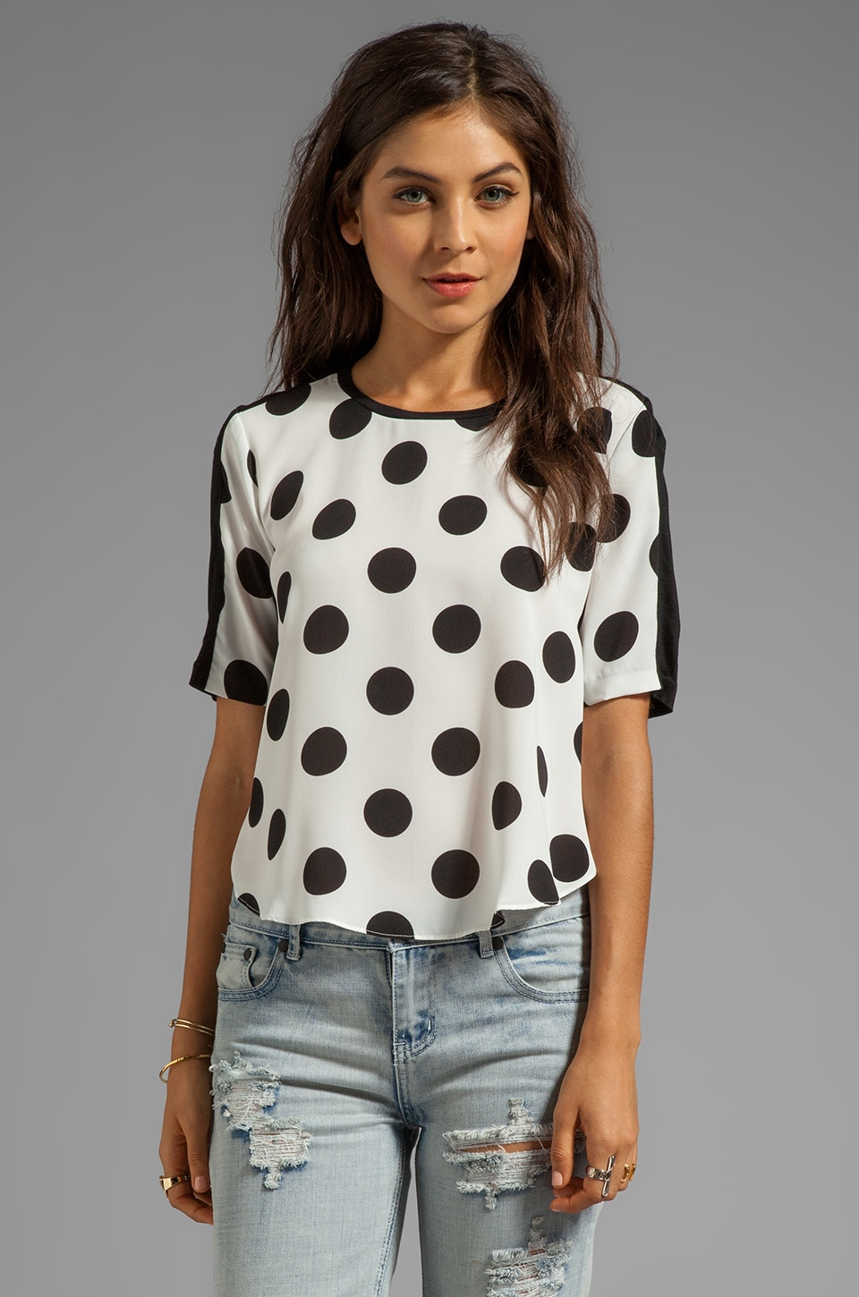 Dolce Vita Anex Rayon Dot Top in White/Black