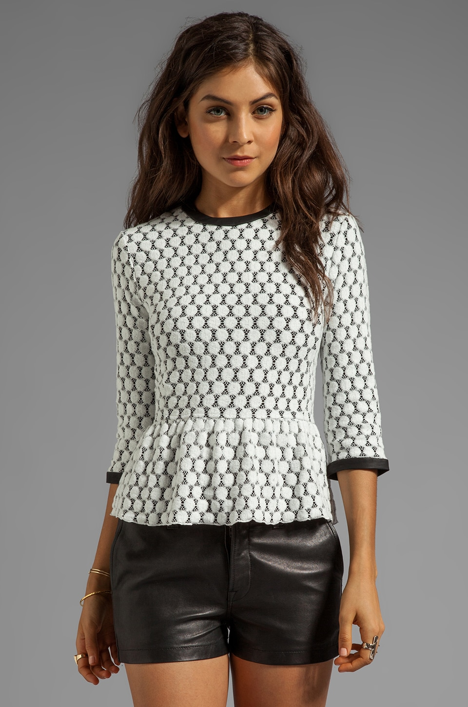 Dolce Vita Ceri Dot Zebra Lace Top in White Dot