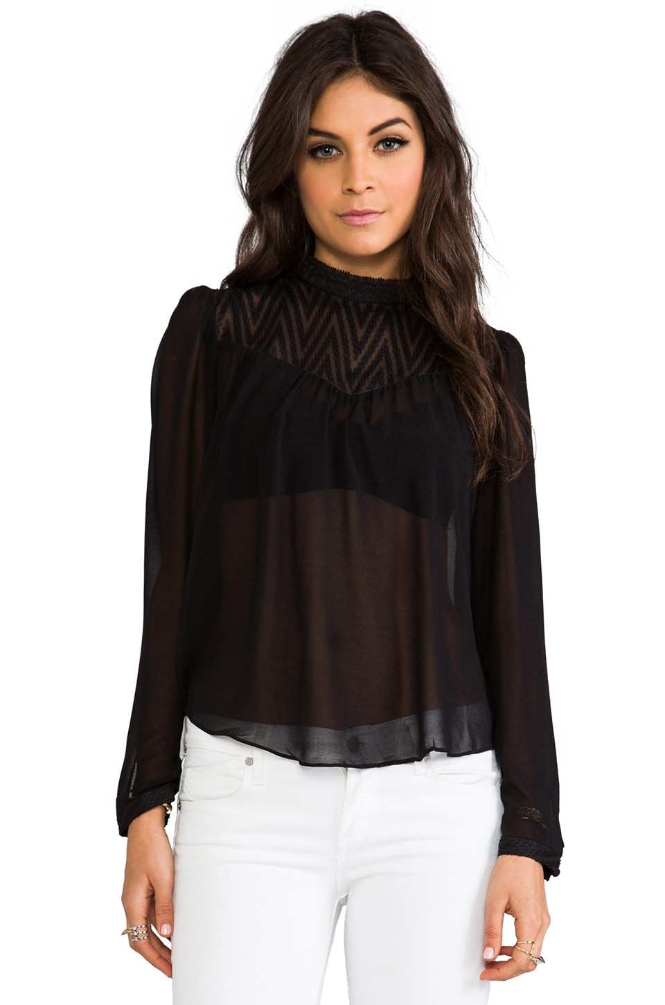 Dolce Vita Zenner Zigzag Dobby Top in Black