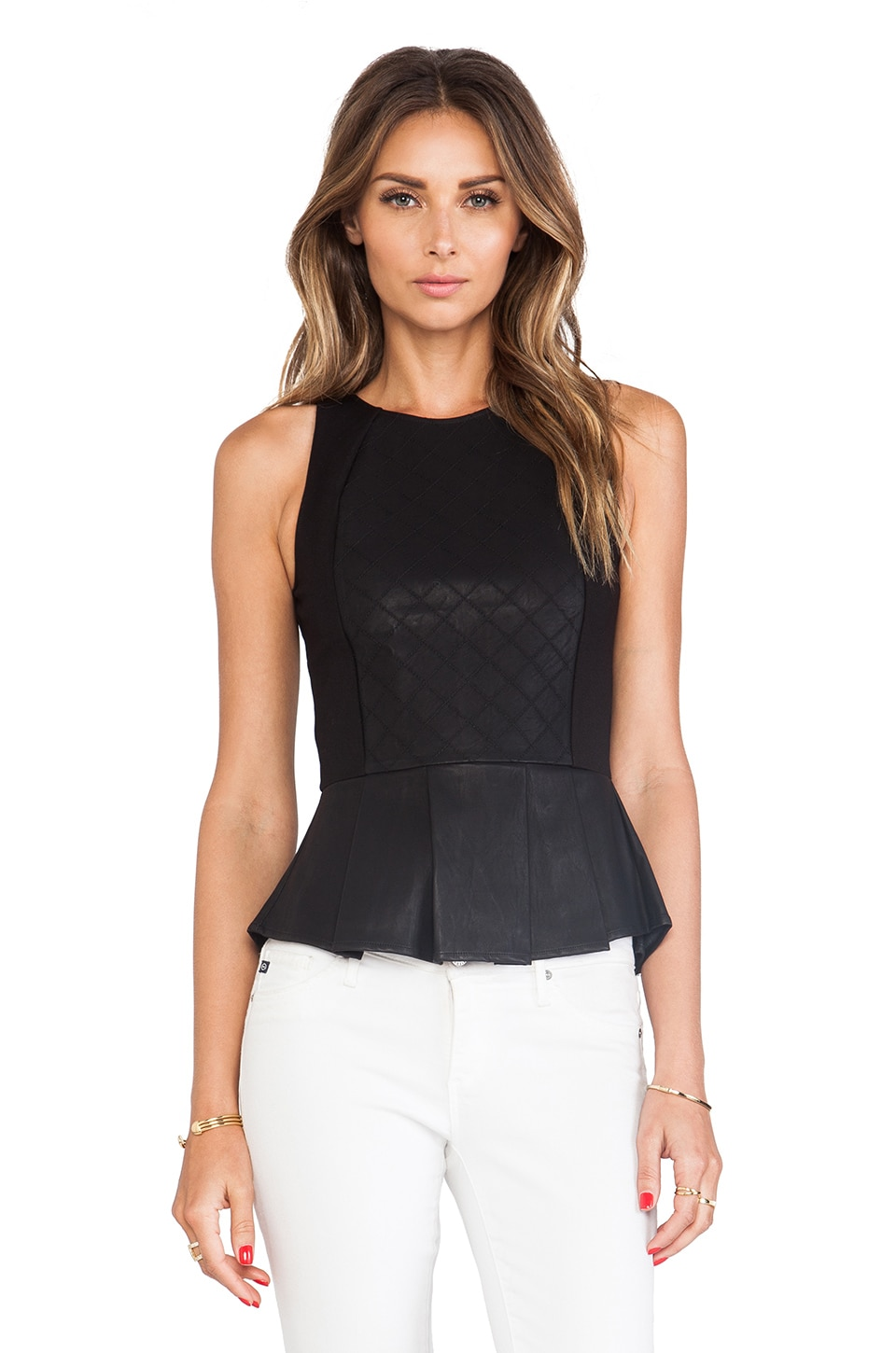 Dolce Vita Gafa Faux Leather Top in Black