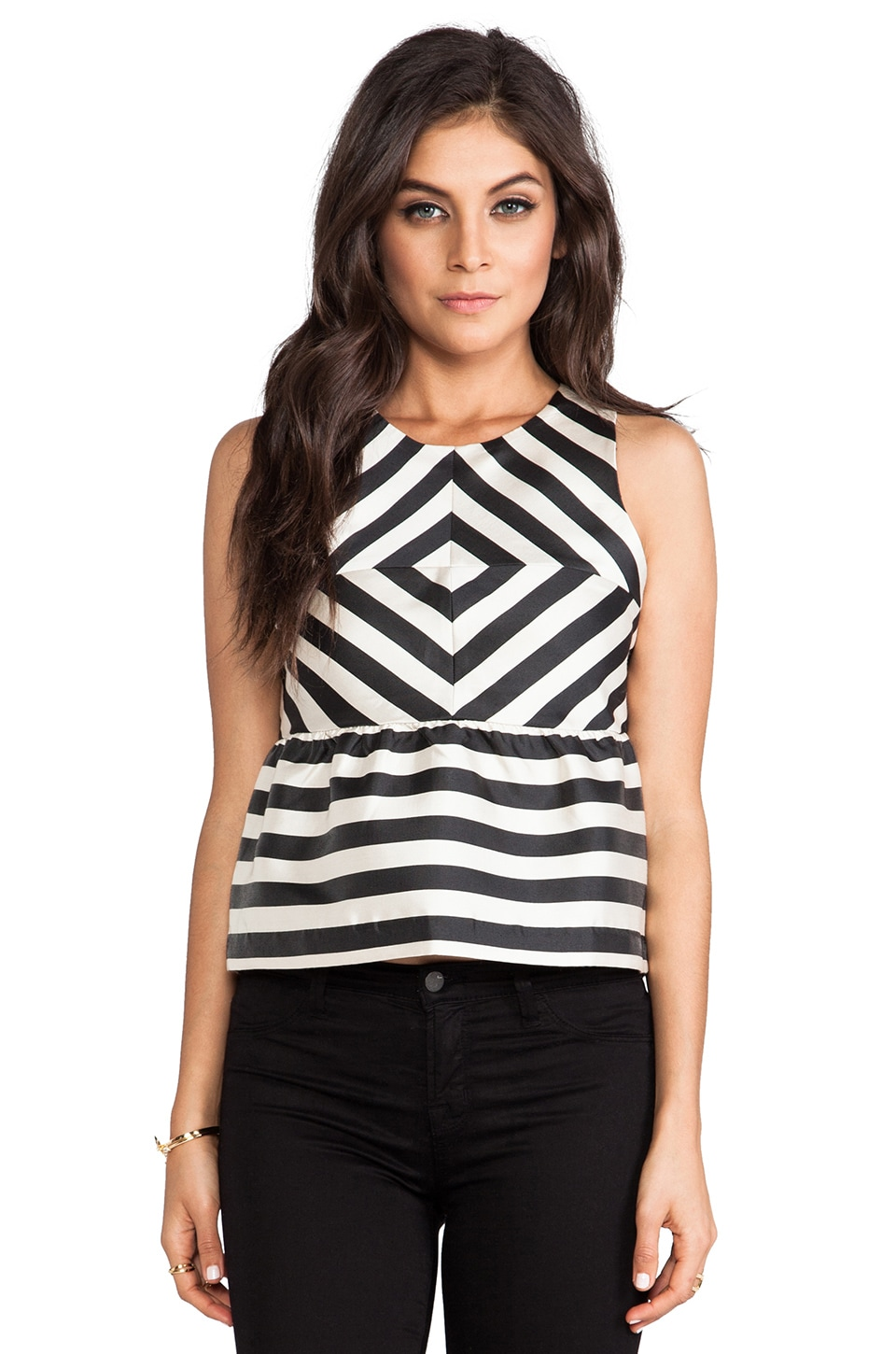 Dolce Vita Lysia Silky Stripes Top in Black/White