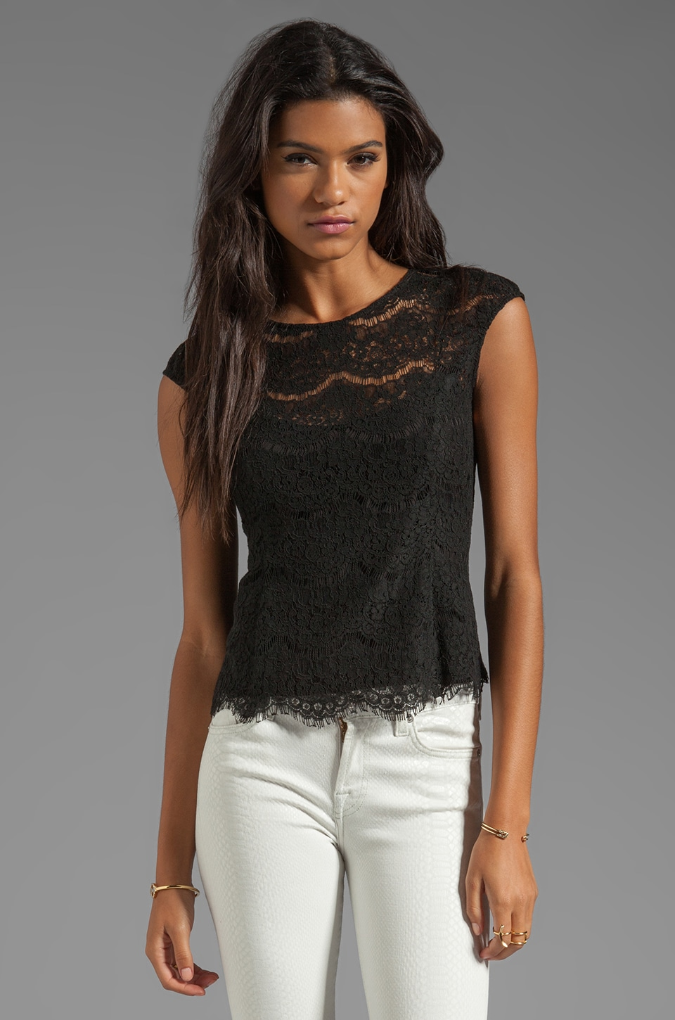 Dolce Vita Galina Eyelash Lace Top in Black