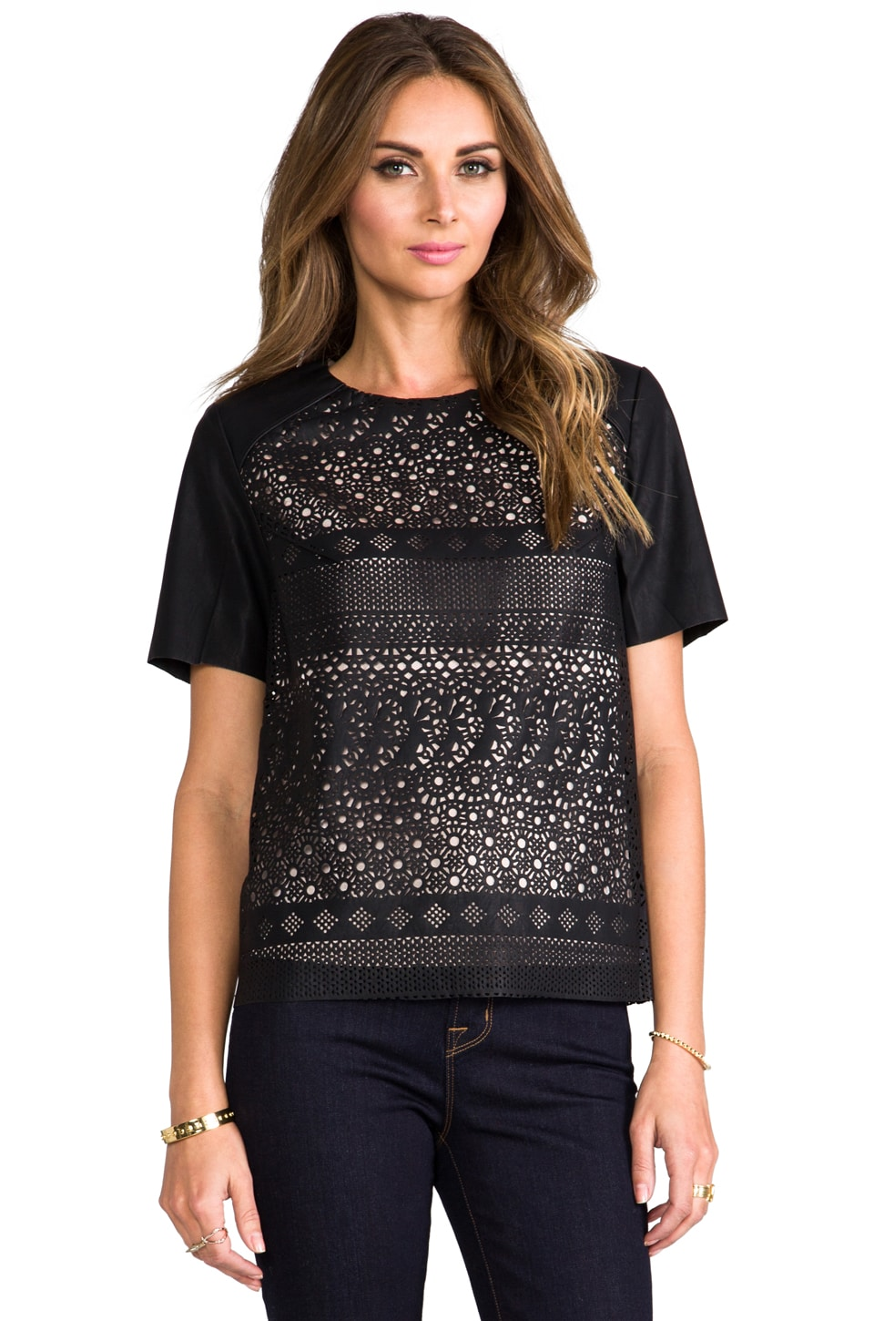 Dolce Vita Adabella Laser Cut Faux Leather Top in Black