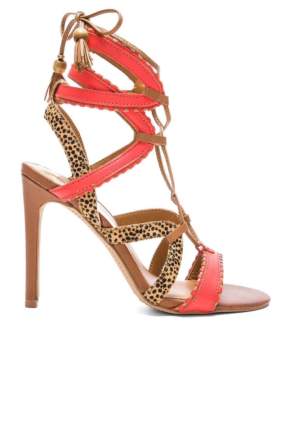Dolce Vita Haven Cow Hair Heel in Red Orange