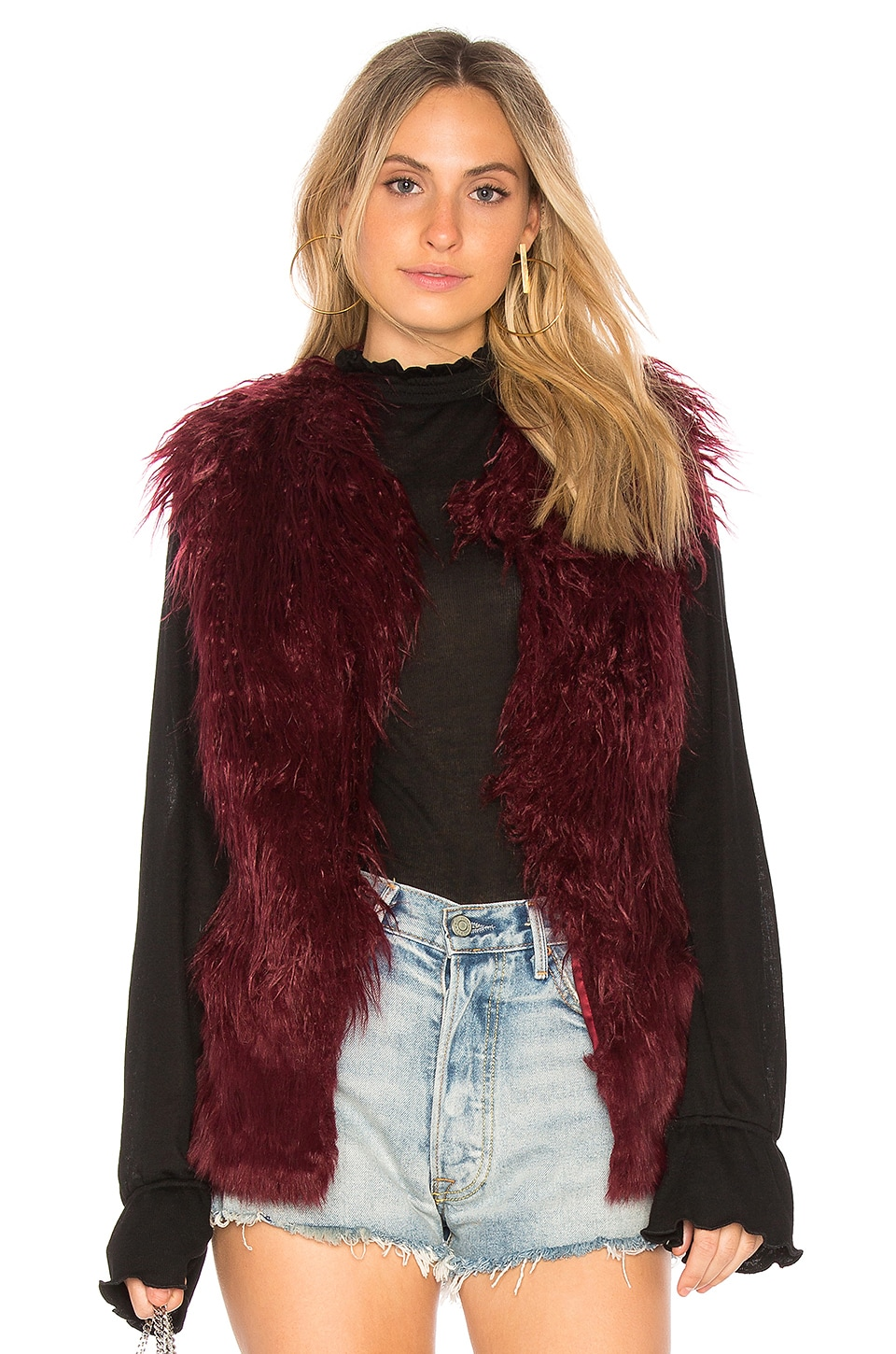 DOMA Faux Fur Vest in Wine