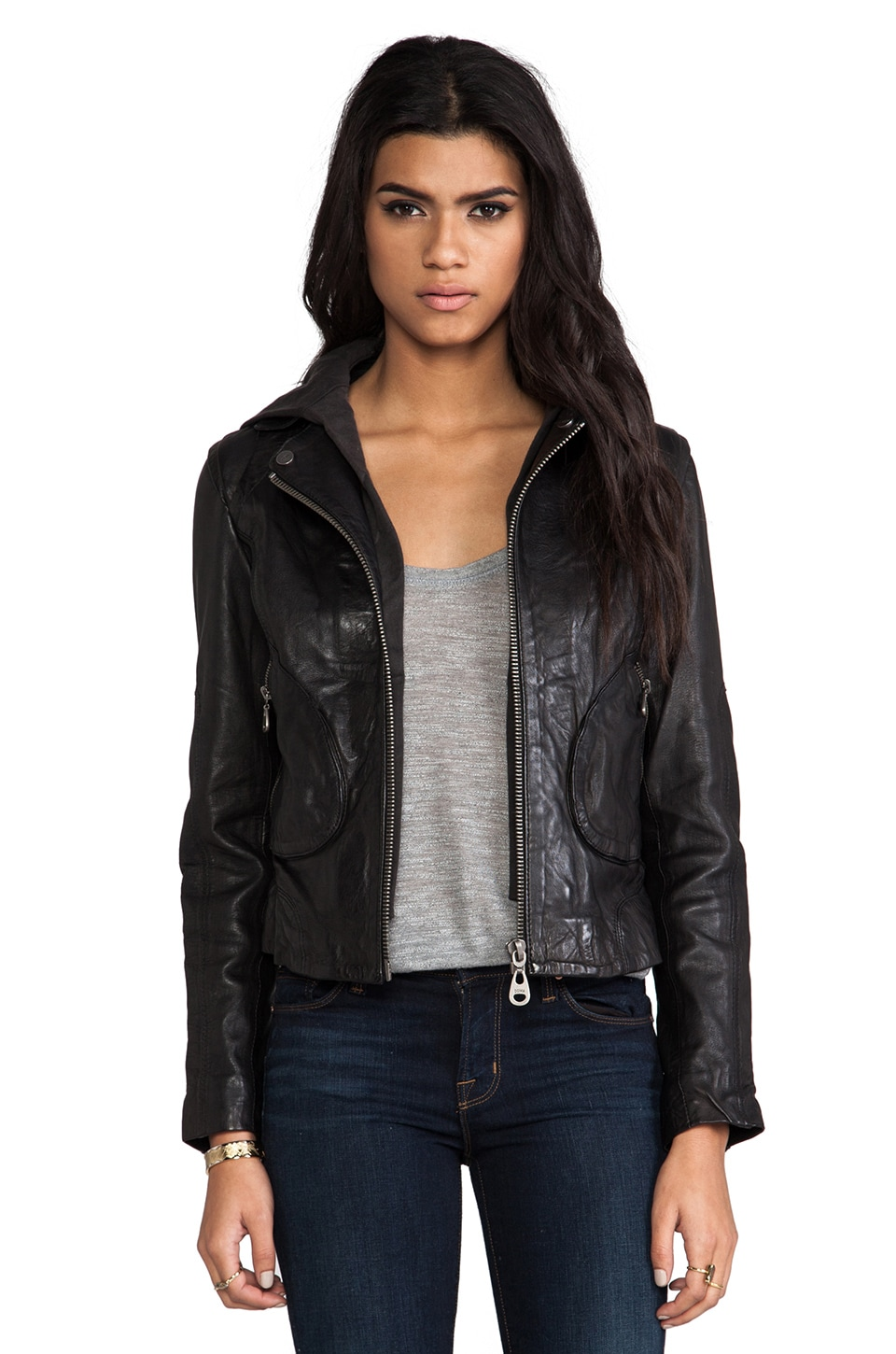 DOMA Moto Jacket with Hood in Black