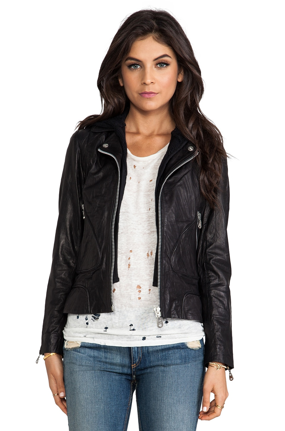 DOMA Washed Lamb Leather Jacket with 2 Zip Out Hoods in Black