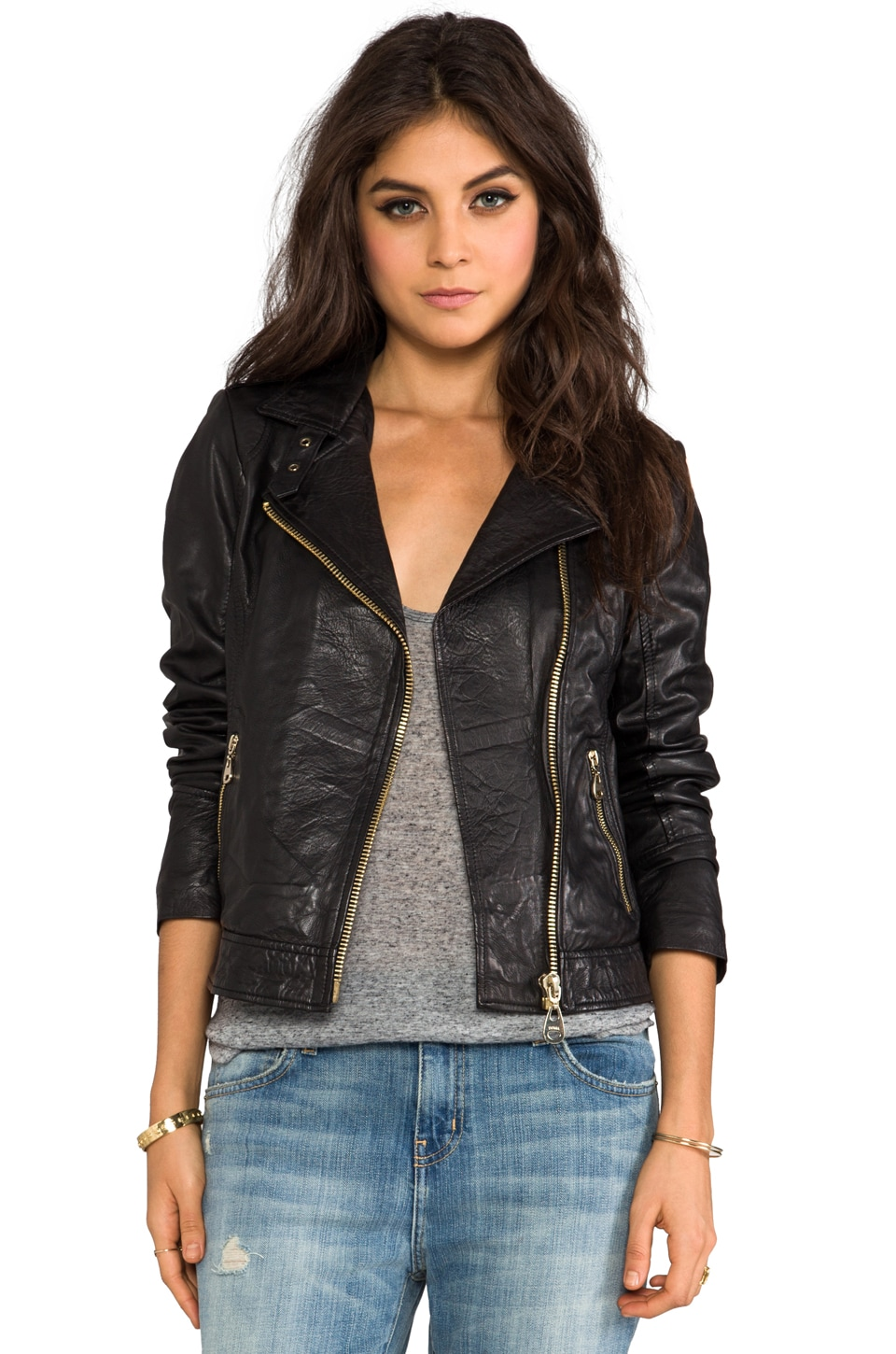 DOMA Tuscano Lamb Leather Jacket in Black