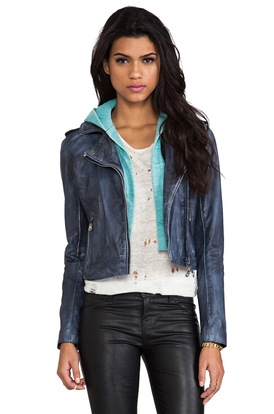 DOMA Washed Lamb Leather Jacket with Detachable Hood in Grey Cloud & Green Wasted