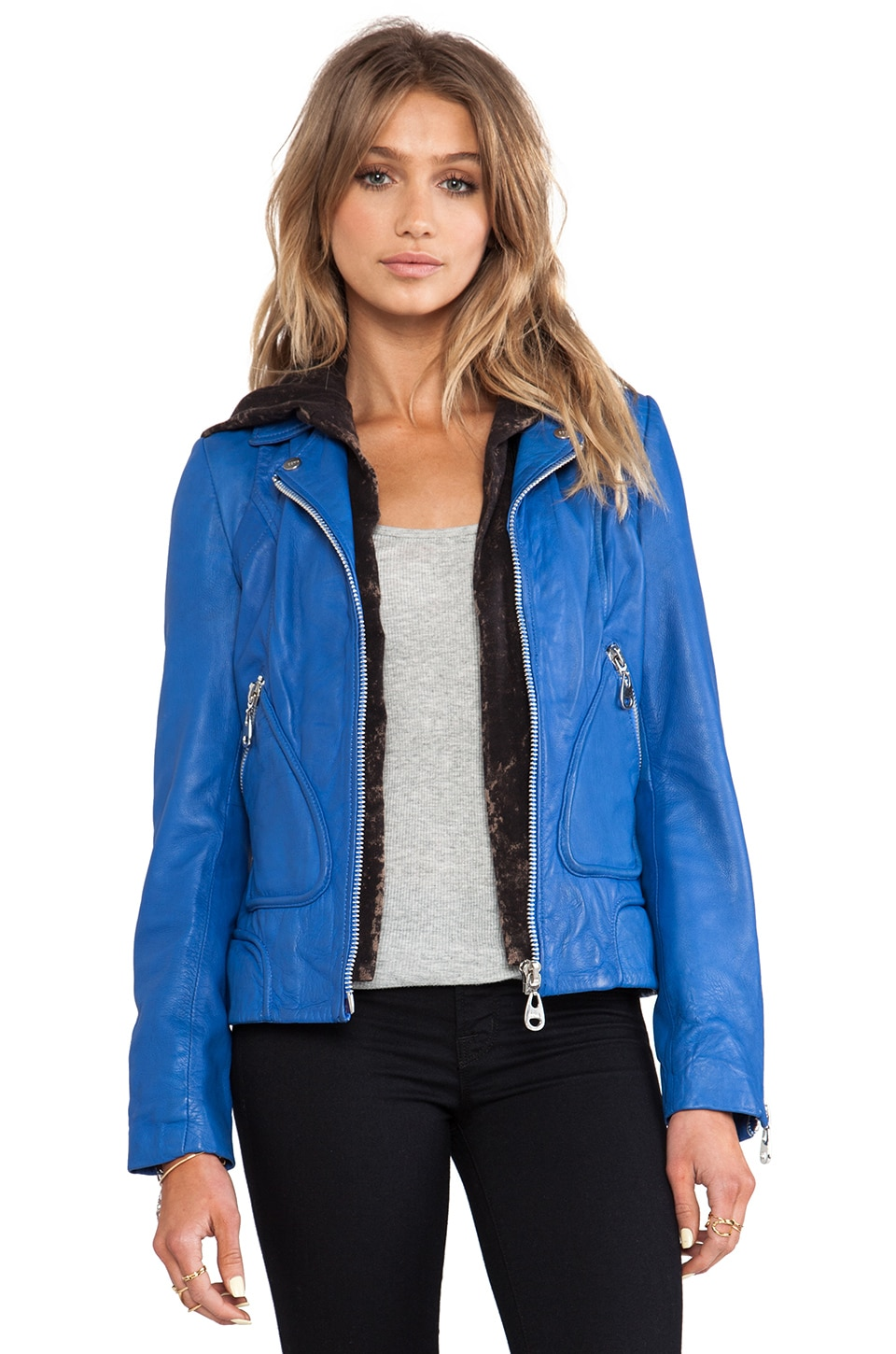 DOMA Washed Lamb Leather Jacket with Detachable Hood in Electric Blue