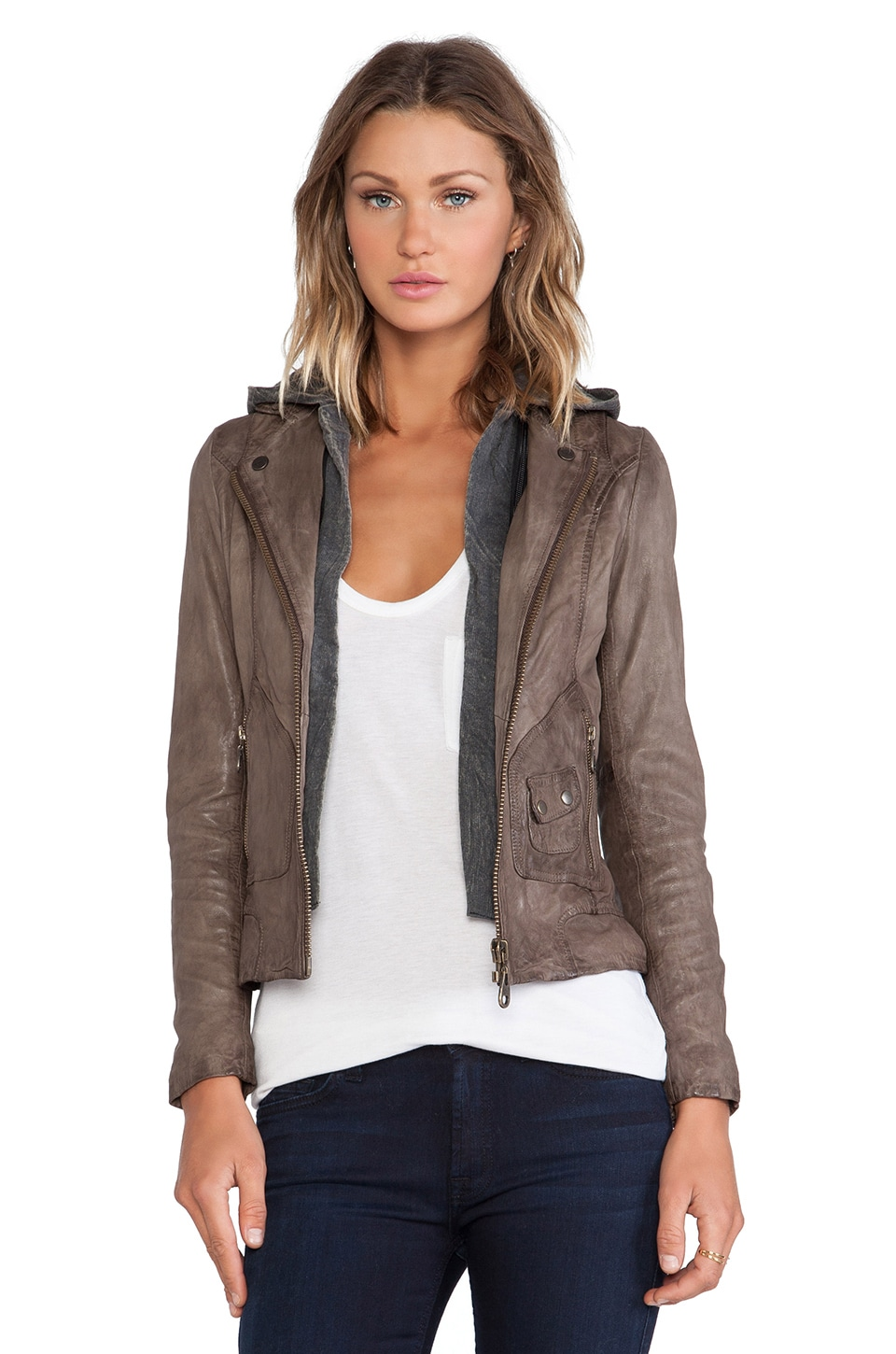 DOMA Hoodie Leather Jacket in Dark Cocoa