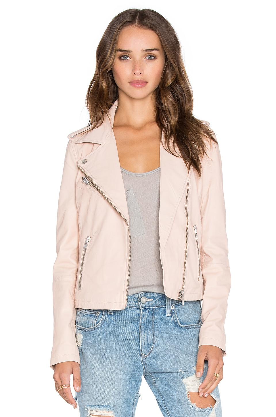 DOMA Biker Leather Jacket in Light Pink | REVOLVE