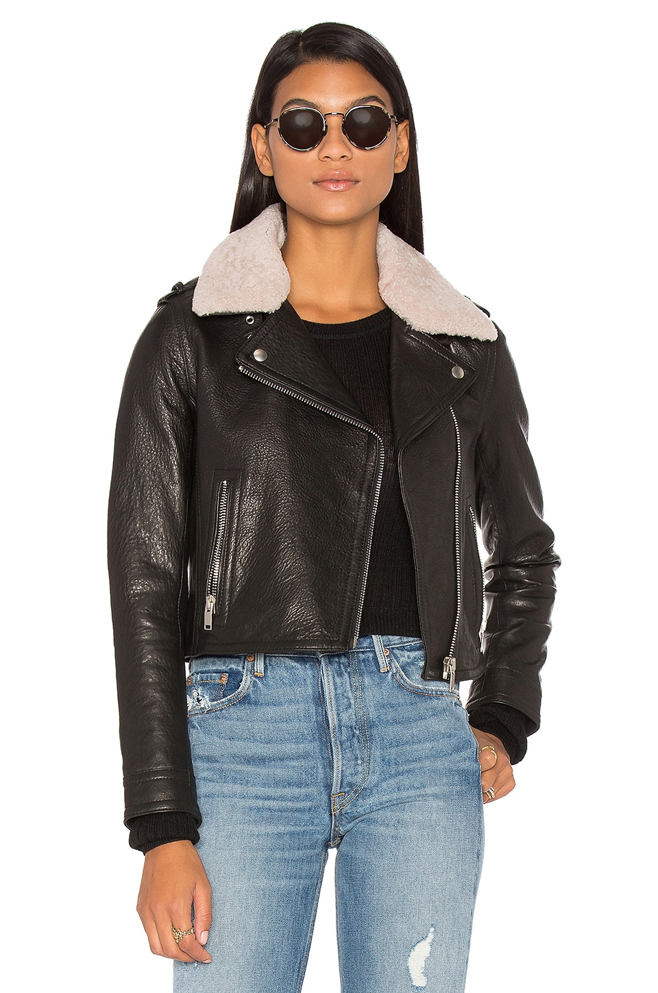 DOMA Detachable Lamb Shearling Fur Collar Aviator Moto Jacket in Black