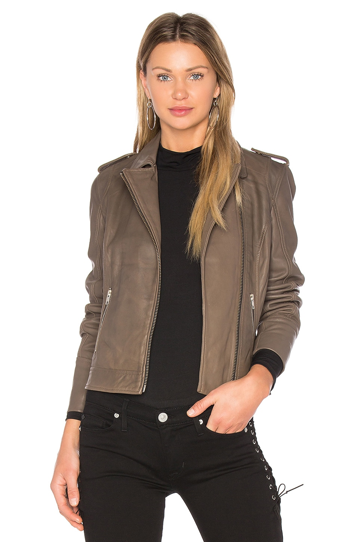 /'LEONA/' Ladies Dark Green Washed Biker Designer Real Lambskin Leather Jacket